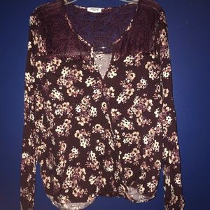 Ardene long sleeve floral lace dress shirt